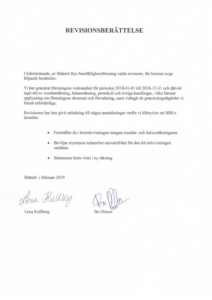 Revisionsberättelse 2018 Brännö Bys Samfällighet